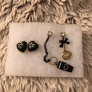 Betsey Johnson 2 Pack Stud and Drop Earrings